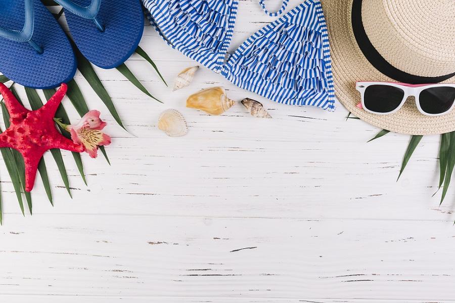 Produtos para viagem na praia