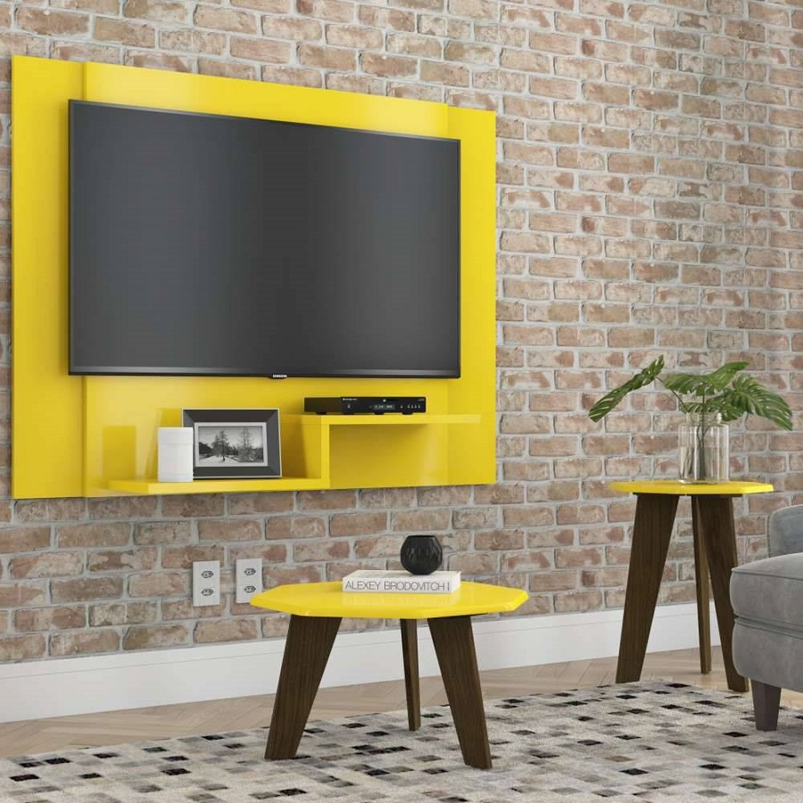 Painel de tv amarelo