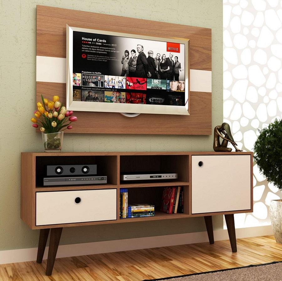 Painel de tv com rack sala