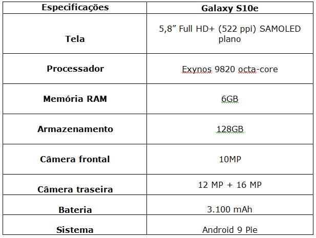 especificações S10e